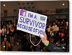 Acrylic Print featuring the photograph I'm A Survivor Because Of You by Debby Pueschel