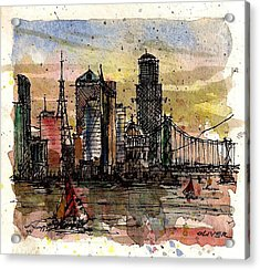 Acrylic Print featuring the mixed media Imaginary Skyline by Tim Oliver