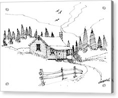 Acrylic Print featuring the drawing Imagination 1993 - Mountain Cabin by Richard Wambach