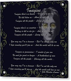 Imagine Golden Scroll Acrylic Print by Movie Poster Prints
