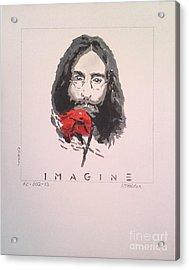 Imagine - John Lennon 1973 Acrylic Print by Richard John Holden RA