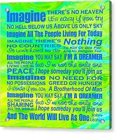 Imagine Song Lyrics - Landform Acrylic Print