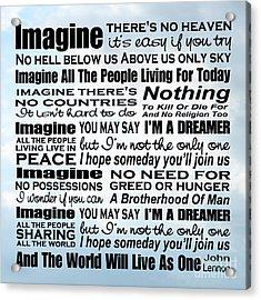 Imagine Song Lyrics - Sky Acrylic Print
