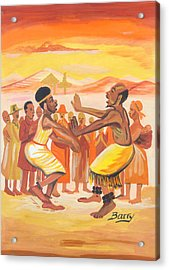 Acrylic Print featuring the painting Imbiyino Dance From Rwanda by Emmanuel Baliyanga