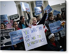 Immigration Activists Rally In Front Of U.s. Supreme Court Acrylic Print by Chip Somodevilla