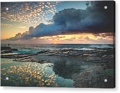 Impact On The Shore Acrylic Print by Mark Lucey