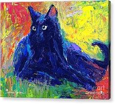 Impasto Black Cat Painting Acrylic Print by Svetlana Novikova