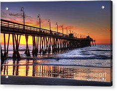 Imperial Beach Pier Acrylic Print by Eddie Yerkish