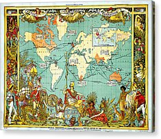 Imperial Federation Map Of The World Showing The Extent Of The British Empire In 1886 Acrylic Print by Celestial Images