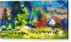 Impressionist Landscape With Cows Fine Art Oil Painting Acrylic Print