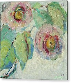 Acrylic Print featuring the painting Impressionist Roses  by Mary Wolf