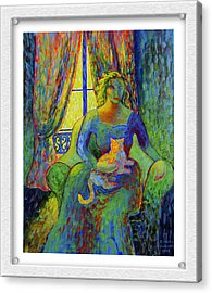 Impressionist Woman And Cat Acrylic Print by Eve Riser Roberts