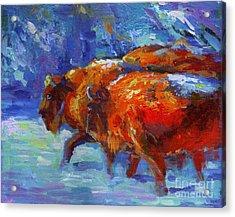Impressionistic Buffalo Painting Acrylic Print by Svetlana Novikova