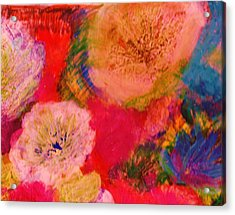 Impressionistic Flowers From The Imagination Acrylic Print by Anne-Elizabeth Whiteway