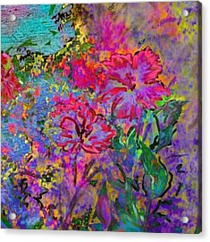 Impressionistic Magenta Hibiscus - Square Acrylic Print by Lyn Voytershark