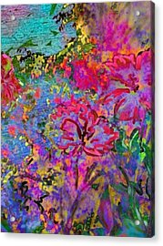 Impressionistic Magenta Hibiscus - Vertical Acrylic Print by Lyn Voytershark