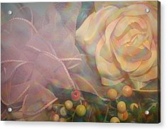 Acrylic Print featuring the photograph Impressionistic Pink Rose With Ribbon by Dora Sofia Caputo Photographic Art and Design