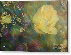 Acrylic Print featuring the photograph Impressionistic Yellow Rose by Dora Sofia Caputo Photographic Art and Design