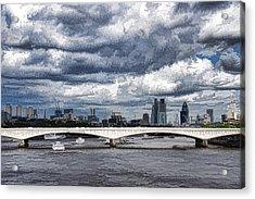 Impressions Of London - Stormy Skies Skyline Acrylic Print by Georgia Mizuleva