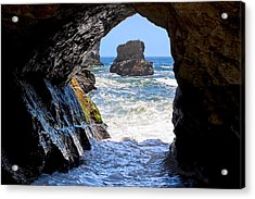 In A Cave By The Sea - Northern Caifornia Acrylic Print by Mark E Tisdale