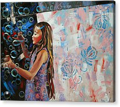 Acrylic Print featuring the painting In A Country Blue Dragonflies  by Anastasija Kraineva
