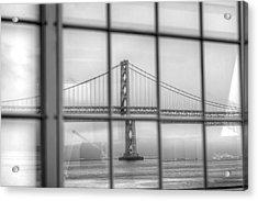 in a window the Bay Bridge Acrylic Print