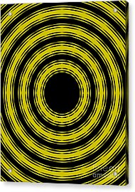 In Circles- Yellow Version Acrylic Print by Roz Abellera Art