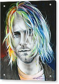 Kurt Cobain - ' In Debt For My Thirst ' Acrylic Print by Christian Chapman Art