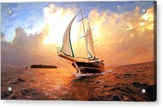 In Full Sail - Oil Painting Edition Acrylic Print