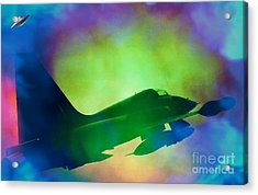 In Pursuit Of A Ufo Acrylic Print by Daryl Macintyre
