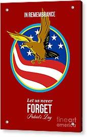 In Remembrance Patriots Day Retro Poster Acrylic Print by Aloysius Patrimonio