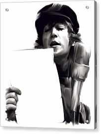 In Studio John Lennon Acrylic Print by Iconic Images Art Gallery David Pucciarelli
