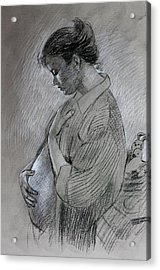 Acrylic Print featuring the drawing In The Family Way by Viola El