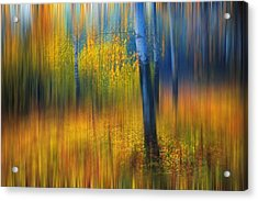 In The Golden Woods. Impressionism Acrylic Print by Jenny Rainbow