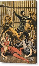 In The Lion�s Cage 1910s Uk Lion Tamers Acrylic Print by The Advertising Archives