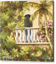 In The Oasis With Gold Leaf By Vic Mastis Acrylic Print by Vic  Mastis