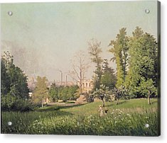 In The Park At Issy-les-moulineaux, 1876 Oil On Canvas Acrylic Print by Prosper Galerne