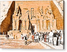 In The Presence Of Ramses II At Abu Simbel Acrylic Print by Mark E Tisdale