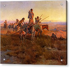 In The Wake Of The Buffalo Hunters Acrylic Print by Charles Russell