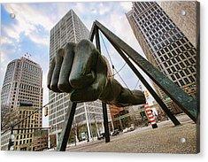 In Your Face -  Joe Louis Fist Statue - Detroit Michigan Acrylic Print by Gordon Dean II