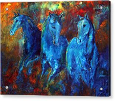 Abstract Horse Painting Blue Equine Acrylic Print