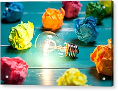 Incandescent Bulb And Colorful Notes On Turquoise Wooden Table Acrylic Print by Xxmmxx