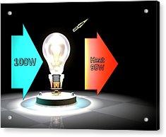 Incandescent Light Bulb Efficiency Acrylic Print by Animate4.com/science Photo Libary
