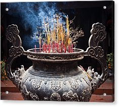 Incense Sticks Burn In Large Ceremonial Temple Urn Acrylic Print