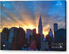 Incredible New York Skyline Sunset Acrylic Print by Miriam Danar