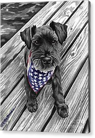 Watercolor Schnauzer Black Dog Acrylic Print