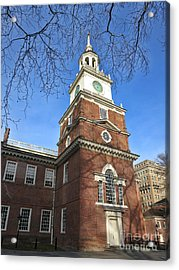 Independence Hall Bell Tower Acrylic Print by Olivier Le Queinec
