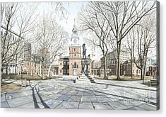 Independence Hall Acrylic Print by Keith Mountford