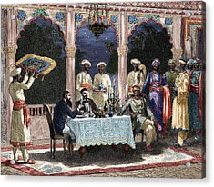 India  British Colonial Era  Banquet At The Palace Of Rais In Mynere Acrylic Print
