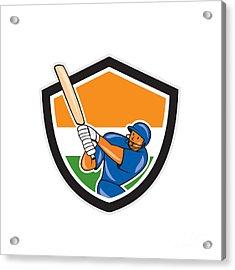 India Cricket Player Batsman Batting Shield Cartoon Acrylic Print